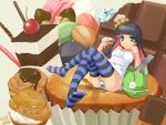 black_hair blue_eyes breasts cake checkerboard_cookie cherry chocolate chocolate_bar cookie cream_puff crossed_legs erect_nipples food fruit hat highres ice_cream in_food jewelry kinoko_no_yama long_hair macaron mini_top_hat minigirl multicolored_hair no_bra panties panty_&_stocking_with_garterbelt panty_(character) panty_(psg) pastry pink_hair pocky ring see-through sitting stocking_(character) stocking_(psg) striped striped_legwear striped_thighhighs syrup thigh-highs thighhighs top_hat two-tone_hair underwear wapokichi