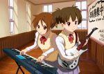 3girls back-to-back brown_eyes brown_hair guitar highres hirasawa_ui instrument k-on! multiple_girls nakano_azusa natu_(natu-tobira) ponytail school_uniform short_hair suzuki_jun synthesizer twintails