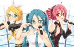 achunchun bare_shoulders bespectacled blonde_hair blue-framed_glasses chun_(friendly_sky) detached_sleeves drill_hair glasses green_eyes hair_ornament hairclip hatsune_miku headphones kagamine_rin kasane_teto long_hair looking_at_viewer microphone multiple_girls nail_polish open_mouth perfume pink_hair red-framed_glasses red_eyes short_hair singing twin_drills twintails utau v v_over_eye vocaloid vocaloid_(lat-type_ver)