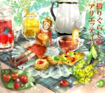 arm_support arrietty bag boots bouquet brown_hair cloth cookie cup dress flower food fruit ghibli highres in_food insect jam juice karigurashi_no_arrietty ladybug leaf lemon minigirl needle open_mouth pitcher ponytail red_dress saucer sitting spoon studio_ghibli teapot