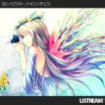 blonde_hair butterfly closed_eyes hands_clasped head_wreath long_hair original plant_wings solo wings yoshino_ryou