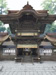 east_asian_architecture highres mirror no_humans scenery shide shrine stairs tree venusgenetrix