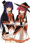 2girls blue_eyes blue_hair blush broom cosplay embarrassed halloween hat hirose_sumire long_hair mini_top_hat miyanaga_teru multiple_girls pink_hair red_eyes saki saki_achiga-hen short_hair simple_background sketch top_hat white_background witch witch_hat yomosaka