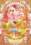 alice_(wonderland) alice_in_wonderland blonde_hair blue_eyes bow card card_creature cheshire_cat cup falling_card flower hair_bow hair_ornament highres mary_janes multicolored_rose mushroom neck_ruff pink_hair pink_rose pocket_watch queen_of_hearts red_eyes red_rose rose shoes teacup thigh-highs thighhighs title_drop tree watch white_rabbit