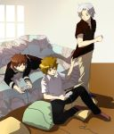 brown_eyes brown_hair couch gokudera_hayato katekyo_hitman_reborn kozato_enma pillow red_eyes redhead sawada_tsunayoshi silver_hair sitting video_games
