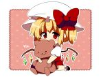 bear blonde_hair blush bow chibi dress flandre_scarlet hat matatabi_maru red_eyes ribbon side_ponytail smirk solo stuffed_animal stuffed_toy touhou wings