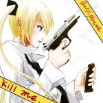 blonde_hair dokyuu_afro english gun hair_ribbon handgun kill_me_baby locked_slide long_hair magazine_(weapon) necktie pistol reloading ribbon solo sonya_(kill_me_baby) twintails weapon white_shirt