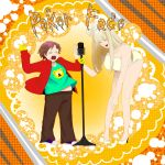 >_< bear belly bow braid closed_eyes eric_cartman gloves high_heels jacket lady_gaga long_hair microphone navel open_mouth pants plump pointing shoes singing south_park