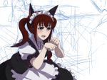 alternate_hairstyle animal_ears blue_eyes blush cat_ears headdress long_hair maid makise_kurisu mori_shin_risuku steins;gate twintails