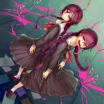 2girls alle_gro back-to-back black_eyes book braid brown_hair dangan_ronpa dual_persona dual_wielding fukawa_touko glasses long_hair mole multiple_girls pleated_skirt school_uniform scissors serafuku skirt tongue twin_braids