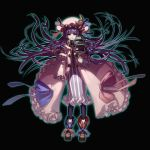book chain crescent crescent_moon embellished_costume floating_object glowing hat highres kansou_samehada kei_t_sr long_hair patchouli_knowledge purple_eyes purple_hair simple_background solo touhou violet_eyes
