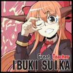 adjusting_glasses bespectacled bow brown_eyes brown_hair contemporary crossover formal glasses great_teacher_onizuka hair_bow horns ibuki_suika long_hair necktie nichi_doriimu orange_hair pant_suit parody solo suit teacher teeth touhou wink