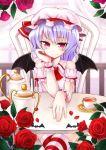 bat_wings blue_hair chonbo_(artist) crossed_legs flower hat red_eyes red_rose remilia_scarlet rose short_hair sitting solo touhou wings
