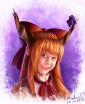 bow fangs grin hair_bow horn_ribbon horns ibuki_suika long_hair orange_eyes orange_hair pointy_ears realistic ribbon signature sleeveless smile suika_no9 torn_clothes touhou