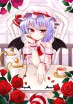 blue_hair chonbo_(artist) crossed_legs flower hat red_eyes red_rose remilia_scarlet rose short_hair sitting solo striped striped_legwear striped_thighhighs thigh-highs thighhighs touhou wings