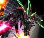 electricity energy_beam explosion glowing gun hiropon_(tasogare_no_puu) kakumeiki_valvrave mecha no_humans solo sparks valvrave weapon