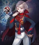 asa_(y-asa) cape communism finger_to_mouth hammer_and_sickle hand_on_hip military military_uniform original red_eyes russian short_twintails silver_hair solo soviet twintails uniform