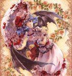 blue_hair flower hat highres red_eyes remilia_scarlet short_hair solo suzuneko-rin touhou umbrella wings