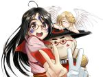aa_megami-sama ahoge angel banpei-kun_rx bespectacled black_hair brown_eyes double_v earrings facial_mark forehead_mark glasses jewelry long_hair noble_scarlet open_mouth paint red-framed_glasses robot skuld smile takebi v
