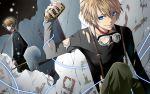blonde_hair blue_eyes hakuseki kagamine_len microphone torn_clothes vocaloid