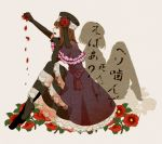 brown_hair dress dual_persona elbow_gloves eva_beatrice flower frills gloves hat petals profile red_rose ribbon rose saya6382 short_hair silhouette sitting texture translation_request umineko_no_naku_koro_ni ushiromiya_eva young