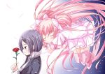 2girls blazer blush bow closed_eyes floating flower gloves goddess_madoka hair_bow hair_ornament hairclip hug hug_from_behind kaname_junko kaname_madoka long_hair mad_(hazukiken) mahou_shoujo_madoka_magica multiple_girls pink_hair profile purple_hair rose short_hair short_twintails smile spoilers thigh-highs transparent twintails very_long_hair violet_eyes zettai_ryouiki