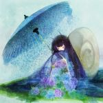 bad_id black_hair blush closed_eyes eyes_closed flower hydrangea japanese_clothes kimono long_hair mikuri_yoru oriental_umbrella original sitting snail snail_girl solo umbrella