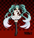 aqua_eyes aqua_hair character_name checkered checkered_background flower hand_on_chest hand_on_own_chest hand_to_chest hatsune_miku high_heels legs long_hair mary_janes shoes skirt stardrop thigh-highs thighhighs twintails very_long_hair vocaloid world_is_mine_(vocaloid)
