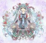blue_hair christmas flower hair_flower hair_ornament hatsune_miku headphones headset long_hair ras0331 solo twintails vocaloid wreath