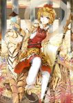 1girl blonde_hair brown_eyes cibo_(killy) coral gold hair_ornament jeweled_pagoda jewelry multicolored_hair polearm shawl short_hair spear tiger toramaru_shou touhou treasure weapon