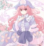 flower hand_on_chest hand_on_own_chest hat hitodama light_smile long_hair pink_eyes pink_hair saigyouji_yuyuko shin_(mintia000) solo touhou traditional_media