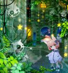 animal_ears boots bow cat_ears ghost green_eyes hair_bow highres moonyan original pink_hair plant short_hair sky solo stairs star tail