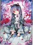black_hair cross dress flower gokou_ruri gothic_lolita hair_ornament hairband head_tilt highres hime_cut lolita_fashion long_hair mosho ore_no_imouto_ga_konna_ni_kawaii_wake_ga_nai purple_rose red_eyes rose smile solo traditional_media