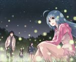 2girls ahoge blue_hair casual dr_rurru fireflies grass hoodie long_hair maeda_risou multiple_boys multiple_girls night night_sky risoumaeda rurru sitting skirt sky smile