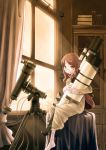 book brown_eyes brown_hair cabinet dress glasses long_hair original pixiv solo sunset tama_(pixiv) tama_(speedgrapher) telescope window