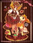 autumn bel_(pokemon) bell_(pokemon) blonde_hair blush boots button deerling dress engrish flower green_eyes halloween hat lace mushroom nintendo open_mouth orange_pantyhose pantyhose pokemon pokemon_(game) pokemon_black_and_white pokemon_bw ribbon scissors shikijika shikjika short_hair smile star strawberrybit