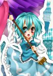aqua_hair bad_id beni0012 heterochromia highres short_hair solo tatara_kogasa touhou umbrella
