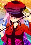 :q animal_ears bunny_ears hat long_hair necktie rabbit_ears red_eyes reisen_udongein_inaba solo tongue touhou yuuka_nonoko