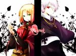 androgynous aplerichi axis_powers_hetalia bad_id blonde_hair cross flower gold green_eyes light_smile male multiple_boys poland_(hetalia) prussia_(hetalia) red_eyes red_rose rose silver_hair weapon