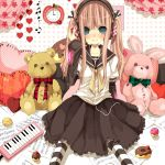 blush bow clock cupcake doughnut hair_bow hair_ribbon headphones heart hinazawa_kirie instrument keyboard keyboard_(instrument) long_hair original pastry pillow pink_hair ribbon school_uniform serafuku sitting smile solo striped striped_legwear striped_thighhighs stuffed_animal stuffed_bunny stuffed_toy teddy_bear thigh-highs thighhighs toy twintails