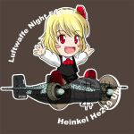 antennae blonde_hair blush_stickers chibi commentary hair_ribbon he_219 hirschgeweih_antennas outstretched_arms red_eyes ribbon rumia sakurato_tsuguhi short_hair spread_arms swastika the_embodiment_of_scarlet_devil touhou world_war_ii wwii youkai