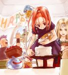 barbara blonde_hair bracelet cake chamoro circlet dragon dragon_quest dragon_quest_vi drango dress earrings food green_eyes happy_birthday hassan_(dq6) hat helmet high_ponytail hoimi_slime jewelry long_hair mireyu mohawk necklace ponytail red_eyes red_hair redhead ribbon slime_(dragon_quest) smile terry togeari_kaisanbutsu