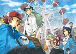 2girls 3boys :< antenna_hair bag bangle bare_shoulders bel_(pokemon) bell_(pokemon) bench black_eyes black_hair blazer blonde_hair blue_eyes brown_eyes brown_hair cck_(ops) cheren_(pokemon) cloud clouds ferris_wheel glasses green_eyes green_hair group hand_in_pocket hat high_ponytail jacket lamppost long_hair long_sleeves messenger_bag mijumaru multiple_boys multiple_girls n_(pokemon) open_mouth oshawott pants pokemon pokemon_(creature) pokemon_(game) pokemon_black_and_white pokemon_bw ponytail short_hair short_sleeves sky smile touko_(pokemon) touya_(pokemon) zipper