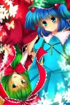 backpack bad_id bag blue_eyes blue_hair bow dress frills front_ponytail green_eyes green_hair hair_bobbles hair_bow hair_ornament hair_ribbon hat highres kagiyama_hina kawashiro_nitori key long_hair multiple_girls randoseru ribbon short_hair touhou
