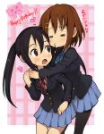 2girls black_hair blush brown_eyes brown_hair female hasesese hirasawa_yui hug incipient_kiss incoming_kiss k-on! long_hair multiple_girls nakano_azusa pantyhose short_hair twintails yuri