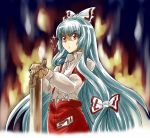 bad_id bow fire fujiwara_no_mokou glint hair_bow hair_ribbon long_hair mikage_nao pants red_eyes ribbon saw silver_hair solo suspenders touhou very_long_hair