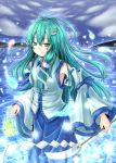 aqua_hair bad_id bare_shoulders dabadhi detached_sleeves frog gohei green_eyes green_hair hair_ornament highres hitodama kochiya_sanae long_hair snake solo torii touhou