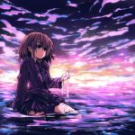brown_hair drpow original school_uniform short_hair solo submerged tom_(drpow) water