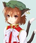 1girl :3 animal_ears blue_background bow brown_hair bust cat_ears cat_tail chen jewelry long_sleeves looking_at_viewer mitsucho mob_cap multiple_tails red_eyes short_hair single_earring slit_pupils solo tail touhou vest