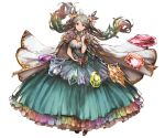1girl ahoge aqua_eyes aqua_hair blue_hair breasts cape cleavage cutout de_la_fille dress earrings floating_hair frilled_dress frills full_body gem gradient_hair granblue_fantasy green_hair hair_ornament heart_cutout jewelry large_breasts long_hair minaba_hideo multicolored_hair navel navel_cutout official_art parted_lips pink_hair purple_hair rainbow_hair solo transparent_background twintails